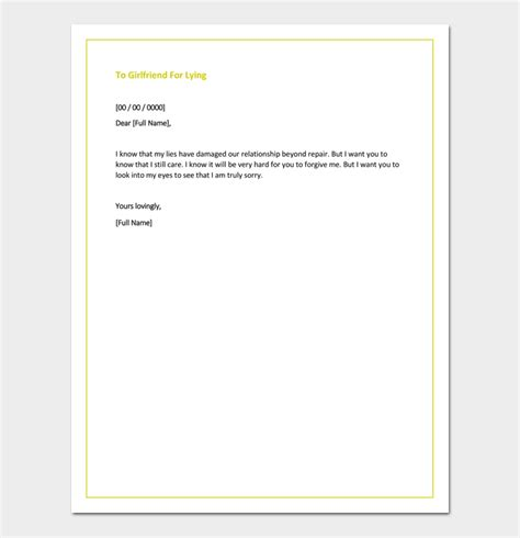 Apology Letter To Boyfriend After Lying Apology Letter Template 33 Sles Exles Formats