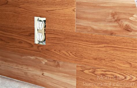 stick on wall remodelaholic diy plank backsplash using peel and stick
