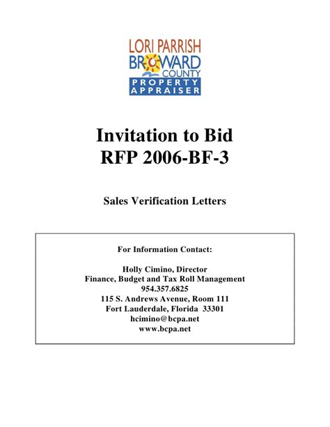 Sle Of Decline Letter For Invitation To Bid Invitation To Bid Rfp 2006 Bf 3