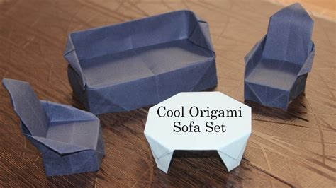 Origami Sofa - how to make origami sofa set table chair sofa paper