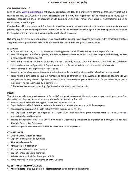 Lettre De Motivation Responsable De Zone infos probikeshop recrute