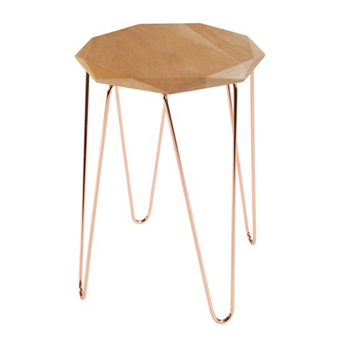 Origami Side Table - origami side table in oak and copper coloured metal