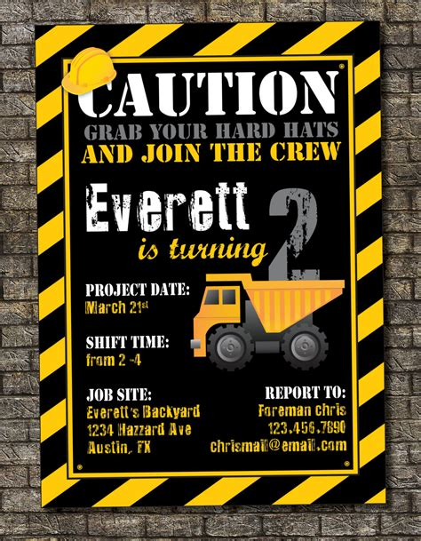 Construction Zone Birthday Invitation By Purplelephantdesigns Construction Themed Birthday Invitation Templates