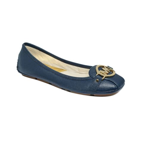 michael kors shoes fulton moc flats michael kors saffiano fulton moc flats in blue mandarin