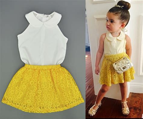 2016 baby girl clothes sets children summer fashion style chiffon tops yellow lace skirts