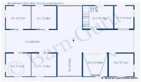 Barn Floor Plans With Living Quarters Four Stall Horse Barn Plans Blueprints