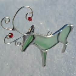 mint green stained glass reindeer christmas holiday ornament