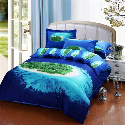 island bedding beautiful blue ocean green island 3d bedding set queen