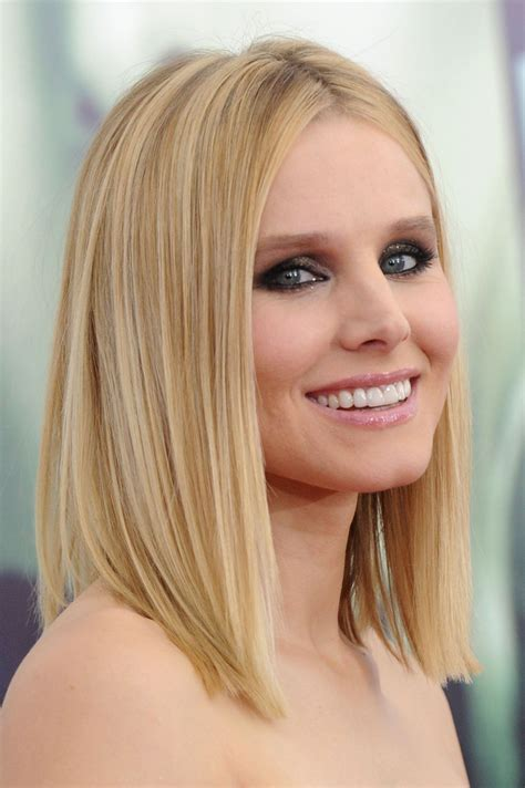 lob haircut best hair style kristen bell medium straight cut edgy chic kristen bell