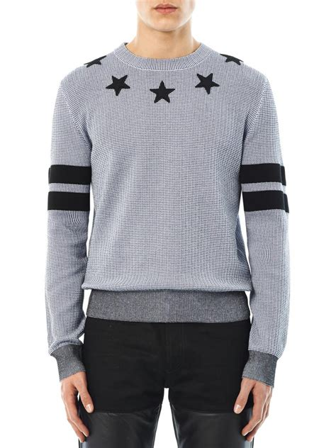 Oneck Stripes Grey lyst givenchy and stripes crewneck sweater in gray