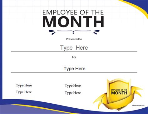 employee of the month certificate template employee of the month certificates templates new