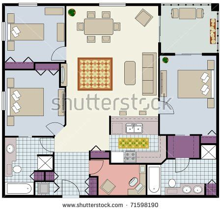 how to lay out furniture in new condo living room good vector furnished twobedroom condofloor plan stock vector