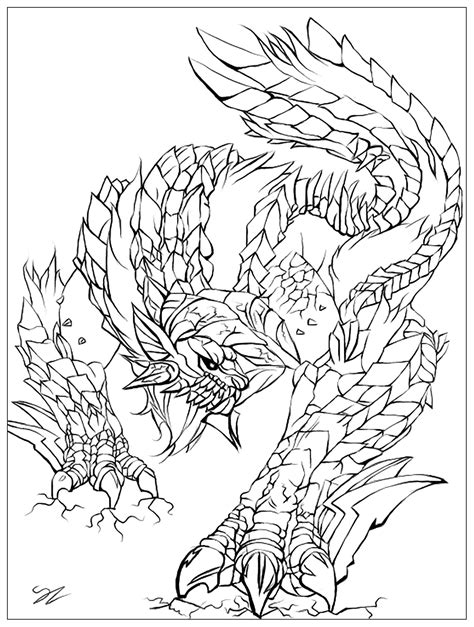 printable zentangle legend monster by juline myths legends coloring pages for