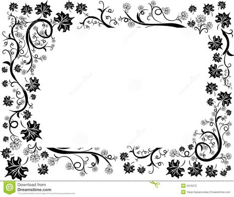 floral leafs design frame stock vector image of black