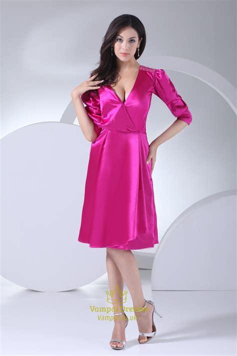 V Neck Dress Pink sleeve v neck dress pink homecoming dresses