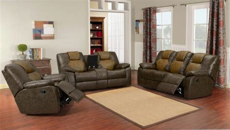 Two Tone Living Room Furniture 3 Pc Two Tone Brown Bonded Leather Reclining Sofa Set Ebay