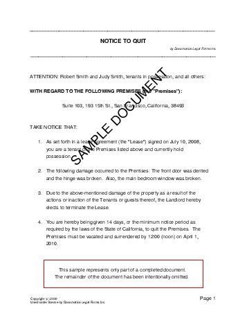 sle eviction notice to tenant in india notice to quit mexico legal templates agreements