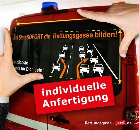 Aufkleber Rettungsgasse by Sonderanfertigung Heckscheiben Aufkleber Rettungsgasse