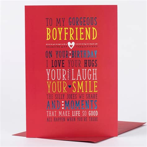 printable christmas cards for your boyfriend birthday card gorgeous boyfriend only 89p