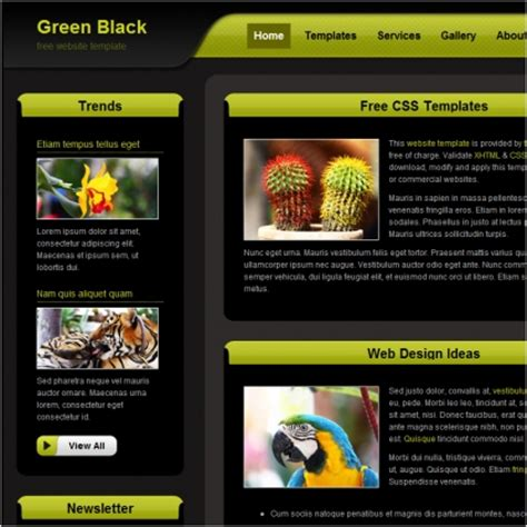 green black free website templates in css html js format