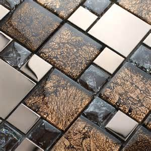 metallic backsplash tile stainless steel mosaic mix glass mosaic tile kitchen