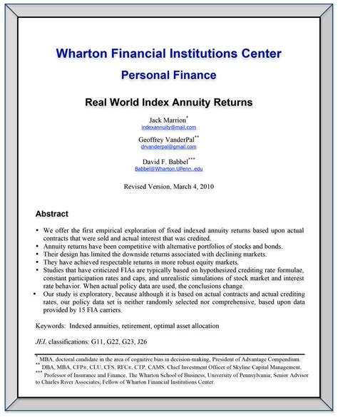 Pdf The Best Indexed Annuities by Real World Index Annuity Returns Wharton Financial