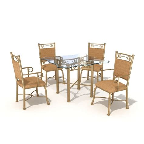 dining set 4 chairs and glass table 3d model cgtrader