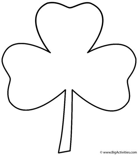Clover Coloring Pages Printable three leaf clover coloring page
