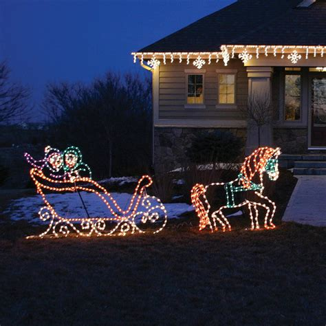 Lighted Victorian Horse And Sleigh Outdoor Christmas Outdoor Lighted Sleigh
