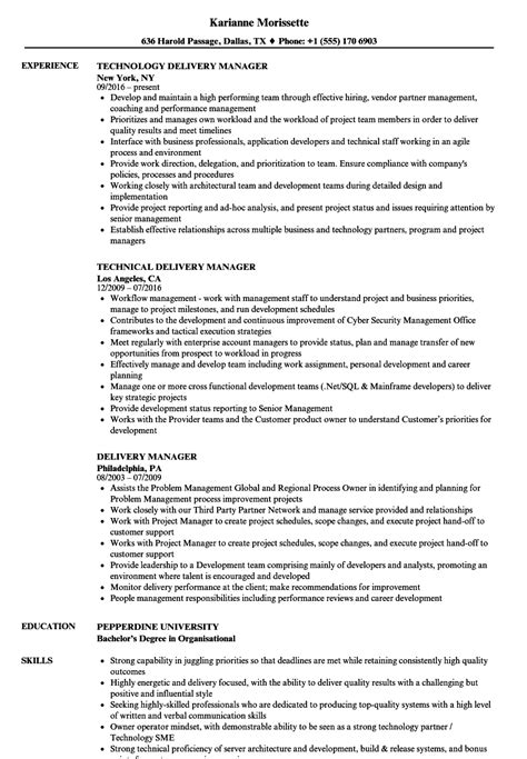 delivery manager resume sles velvet
