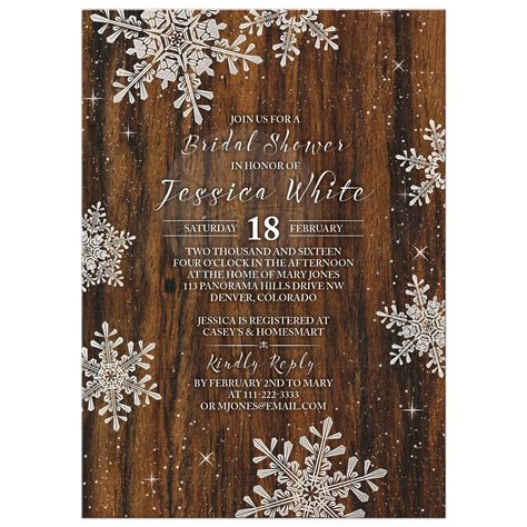 winter themed wedding shower invitations rustic snowflake bridal shower invitation