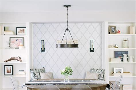 Sconces For Media Room Wallpapered Breakfast Nook Bench Niche Transitional