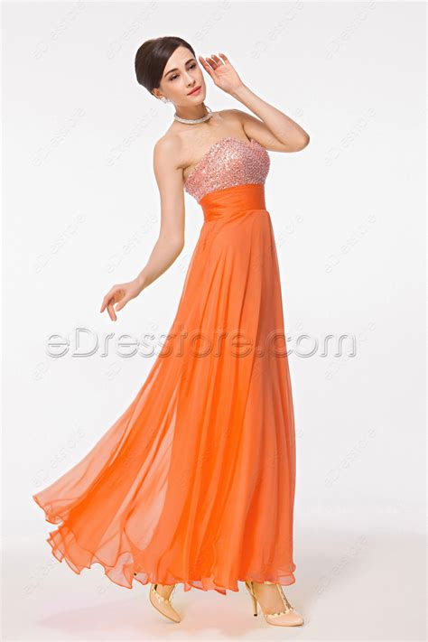 Who Wore It Better Karta Jeweled Waist Dress by Sweetheart Beaded Sequin Orange Evening Dresses