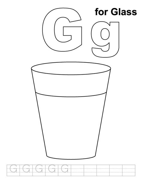 g for glass coloring page with handwriting practice