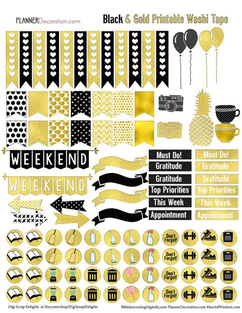 printable metallic stickers gold foil printable planner stickers for erin condrin