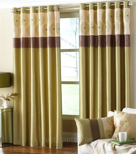 Brown And Green Curtains Designs Clarimont Green Brown Designer Lined Curtain Curtains