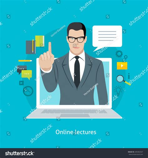online tutorial lectures flat design colorful vector illustration concept for