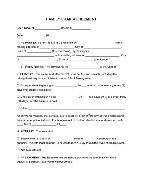 contract template for borrowing money contract for borrowing money from family template