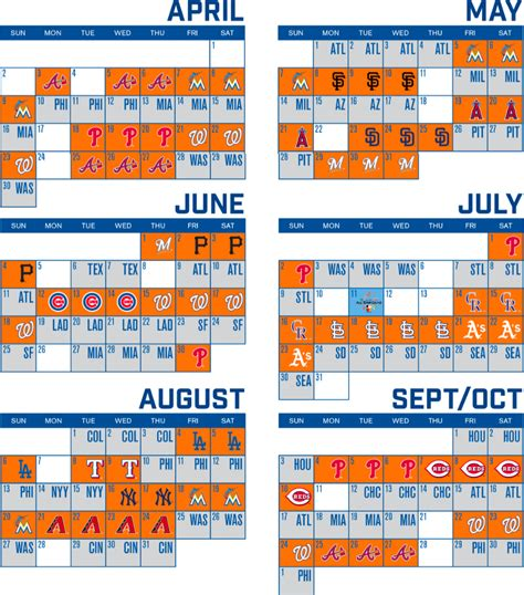 2017 new york mets sortable schedule new york mets