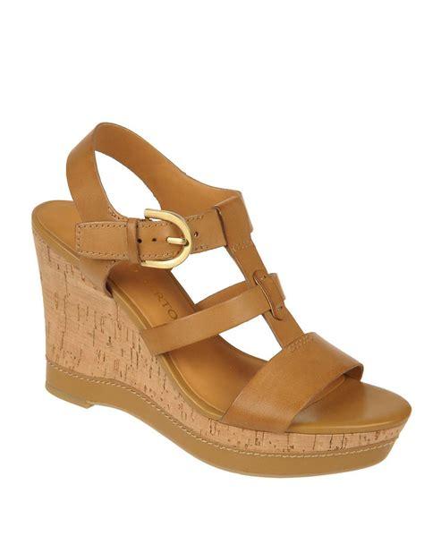 franco sarto brown sandals franco sarto sonoma leather strappy wedge sandals in brown
