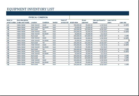 ms excel equipment inventory list template excel templates