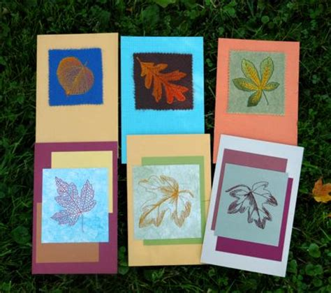 Kinds Of Paper Crafts - autumn themed greeting cards with leaf embroidery