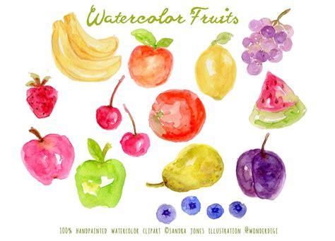 watercolor fruits illustrations creative market