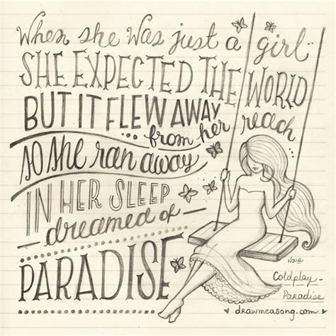coldplay paradise lyrics 26 best images about draw me a song on pinterest