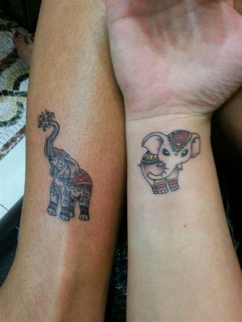 matching elephant tattoos and matching elephant tattoos hers obvi