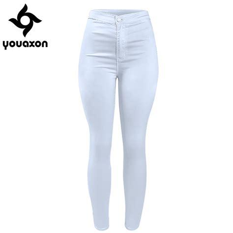 Basic Highwaist 1 1888 youaxon s high waist white basic casual fashion stretch denim jean