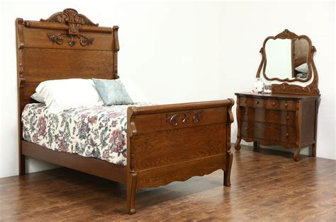 Antique Bedroom Furniture Carved Oak Antique 1900 Bedroom Set Size Bed Chest Mirror Ebay