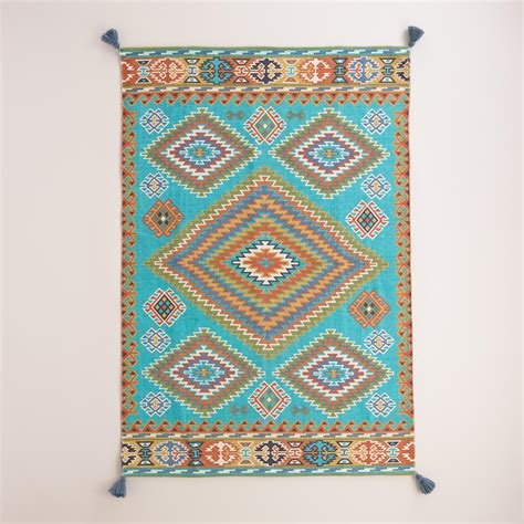 World Market Outdoor Rugs Blue Odina Kilim Flatweave Reversible Indoor Outdoor Rug World Market