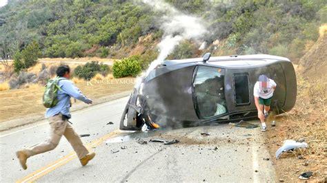 Crashing On The by Car Crashes Into Hillside 4k Uhd
