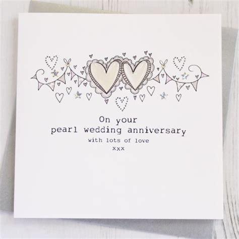 Handmade Pearl Anniversary Cards - handmade happy pearl anniversary card